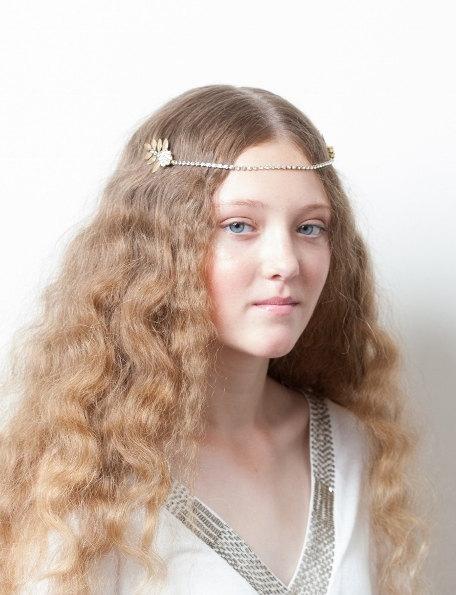 Mariage - Gold Bridal Headpiece with leaves - Greek Goddess headpiece - Wedding Headpiece - Pre-Raphaelite  - Crystal Brow band -UK