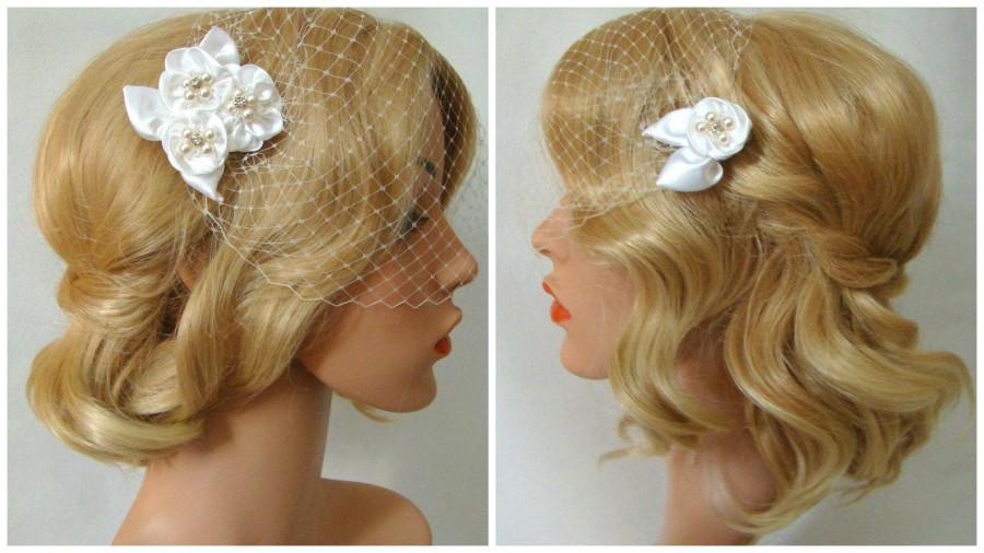 Mariage - Birdcage Veil Flower Hair Clip, Bandeau Birdcage Veil with Flower Fascinator, 3 Pieces Set, Detachable Veil