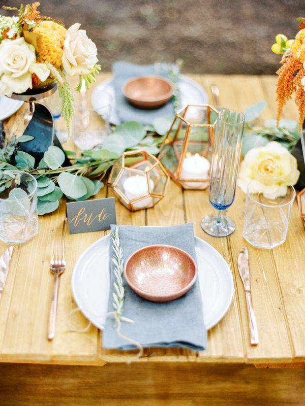 Hochzeit - Copper And Slate Autumn Inspiration Shoot