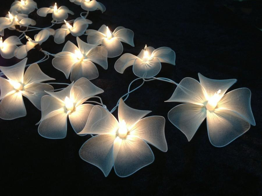 Handmade White Flower String Lights For Patio,Wedding,Party And Decoration (20 Bulbs) #2568548 ...