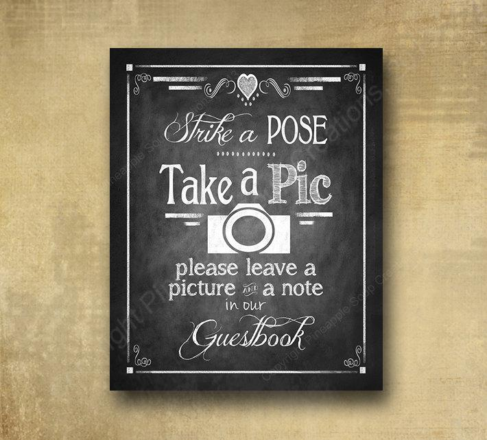 Свадьба - Printed PHOTO BOOTH Guestbook Wedding sign - chalkboard signage - 3 sizes available with optional add ons