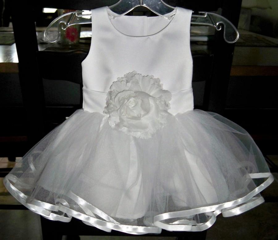 ffa5a7839e05 Baby Girl White Satin   Tulle Size 6-12 Month Special Occasion Dress ...