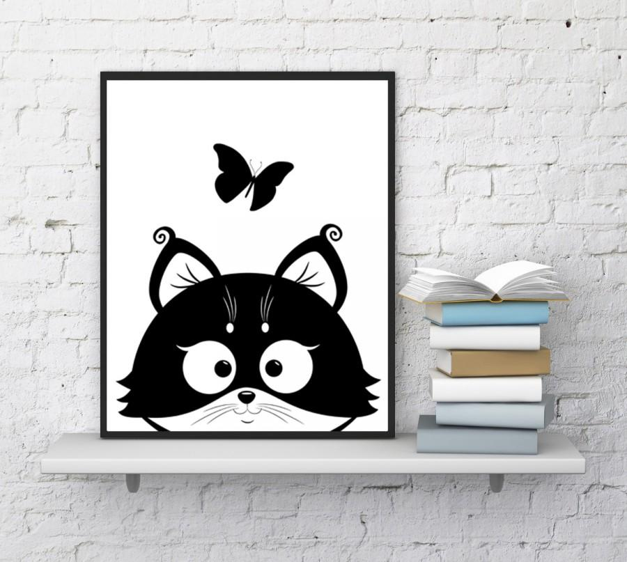 Wedding - Cat print, Kitten print, Cute cats, Cat wall art, Kitten face, Butterfly print, baby nursery, Funny animals, Cat lovers, INSTANT DOWNLOAD
