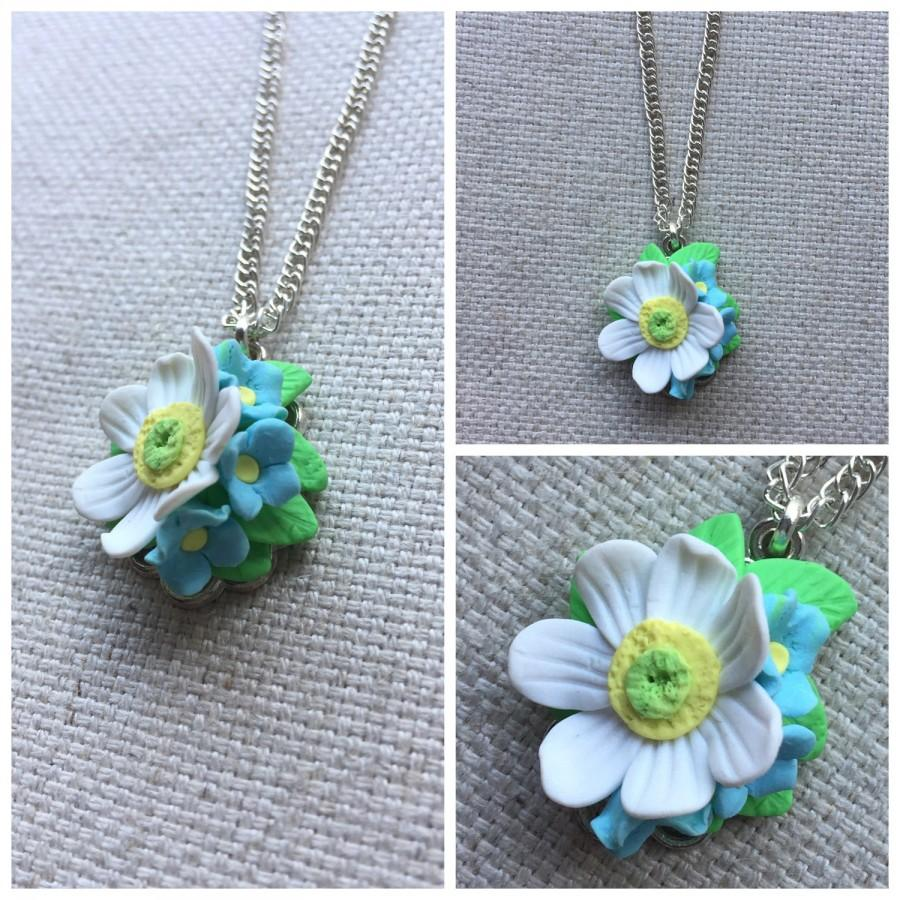 Wedding - Flower necklace, daisy necklace, daisy flower, summer necklace