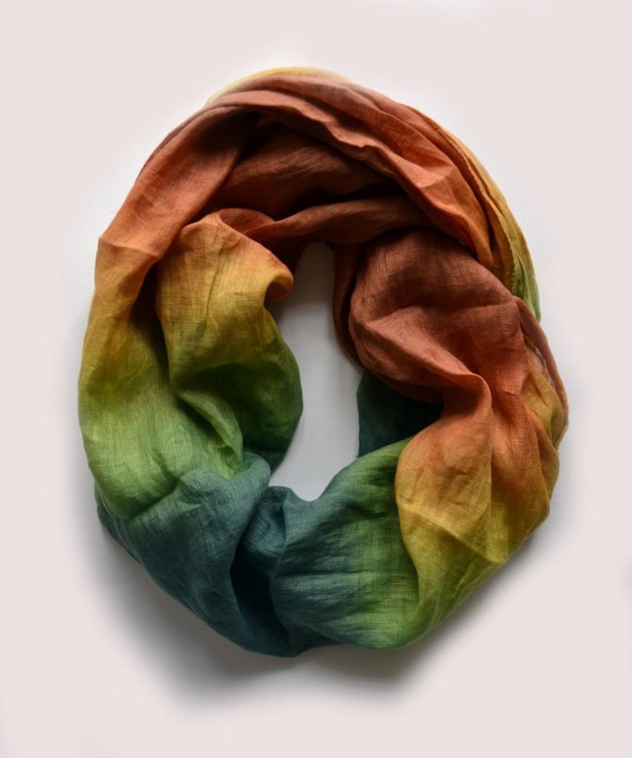 Свадьба - Dip-Dye Green Linen Scarf - Oversized Linen Scarf - Fashion Scarf  - Infinity Scarf - Green Brown Scarf - Fall Scarf