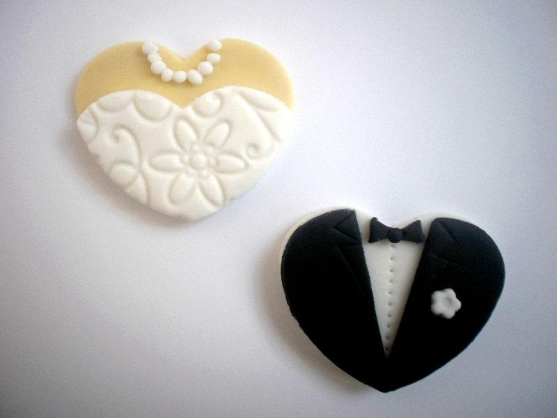 Wedding Fondant Edible Cupcake Toppers Bride And Groom Toppers
