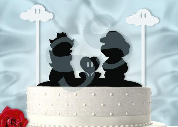 Mario And Peach With Cute Clouds Inspired Wedding Cake Topper 2568625