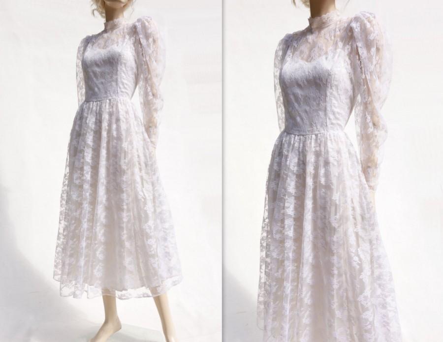 Lace Wedding Dress, Vintage Tea Length, 70s Wedding Dress, 70s ...
