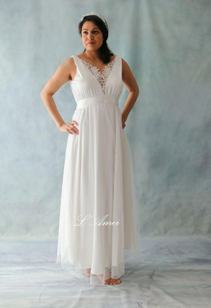 Simple deep v ivory stretch silk chiffon with cotton lace for Simple cotton wedding dress