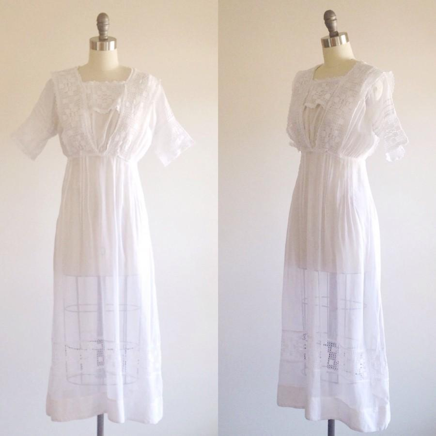 Edwardian dress white wedding dress antique dress 1910s for Simple cotton wedding dress