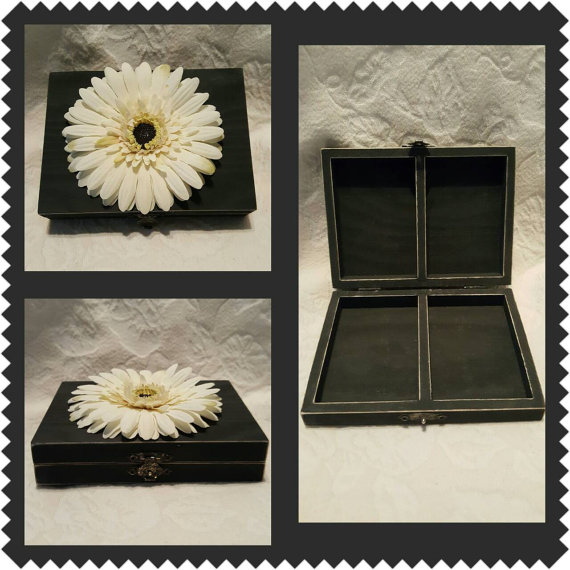 Wedding - Distressed Spring Wedding Ring Bearers Box Charcoal Gray Ivory Flower Divided HIS HERS