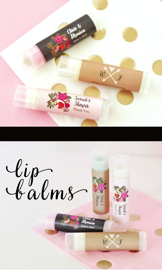 Personalized wedding favor chapstick personalized bridal for Personalized wedding shower favors