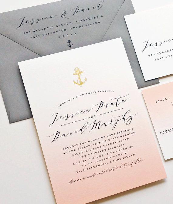 زفاف - NEW Jessica Coral Ombre Nautical Wedding Invitation Sample With Gold Foil Stamped Anchor, Shell, Starfish Or Palm Tree