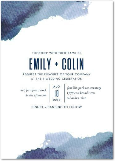 Wedding - Romantic Hues - Signature White Textured Wedding Invitations In Navy Or Amethyst