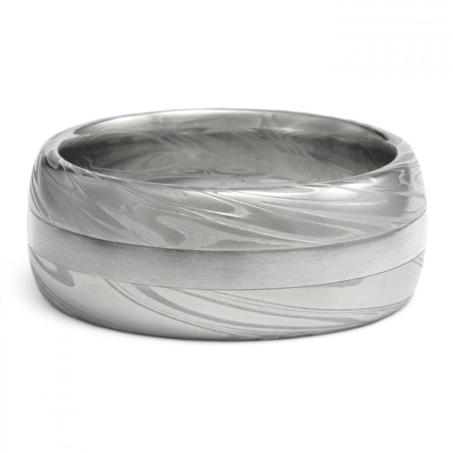 Mariage - Palladium Inlay in Damascus Mens Wedding Band. Half Round 8mm, 9mm or 10mm, Powerful Swirling Current Pattern. Premium Handmade Ring.
