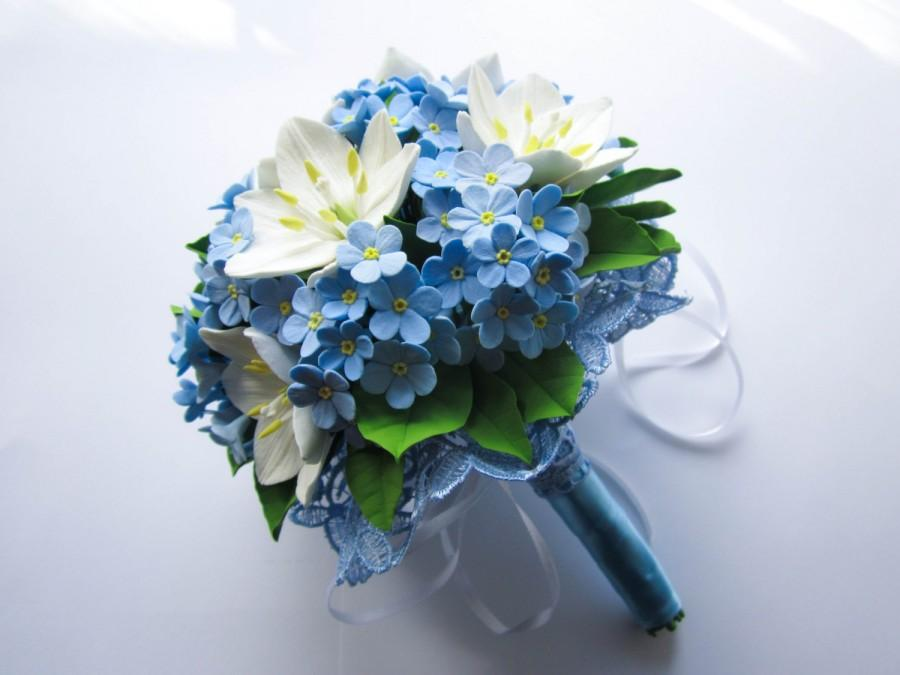 Свадьба - Make to order.  Wedding bouquet with white ornithogalum and forget-me-not, polymer clay. Made by order .