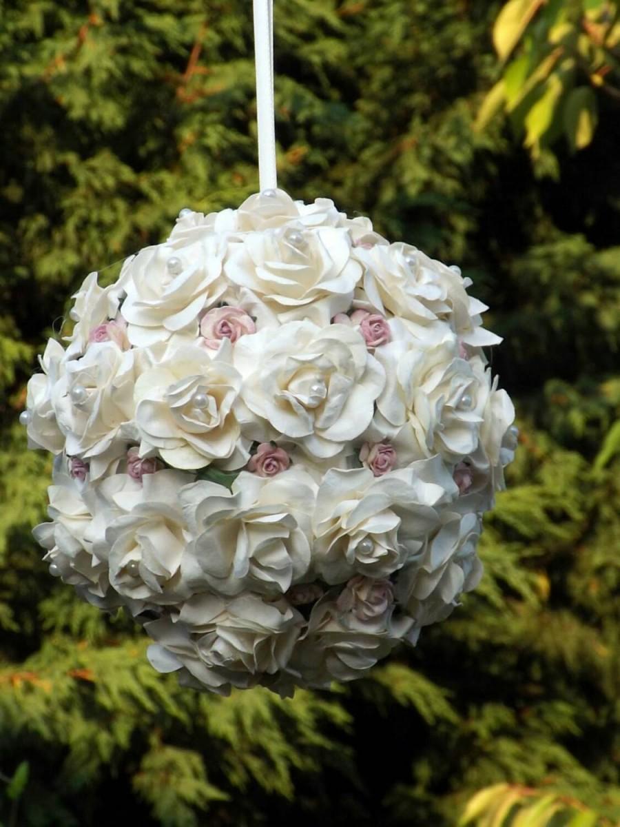 Свадьба - Flower girl pomander, kissing ball, wedding pomander, pew end, any colour way
