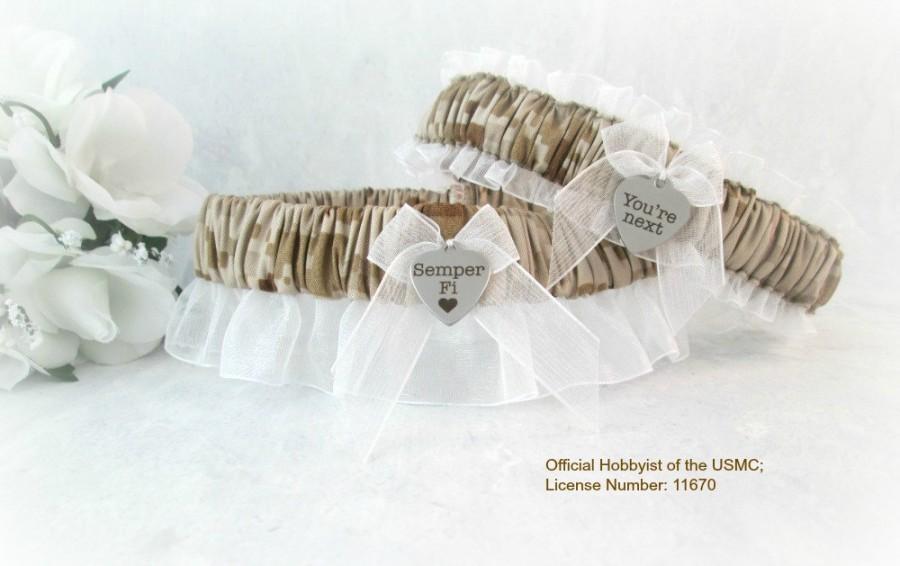 Hochzeit - Military U.S. Marine Wedding Garter Set - Camouflage Bridal Garters - Desert Camo Garters - Marpat Garters.