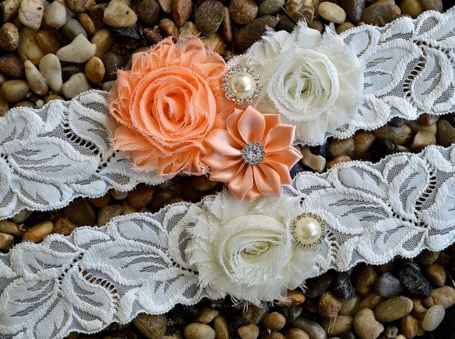 Mariage - Wedding Garter Set - Ivory FRENCH (IMPORT) Lace and Peach Chiffon Flowers, Bridal Garter, Plus Size Garter - Toss Garters - Chiffon flower