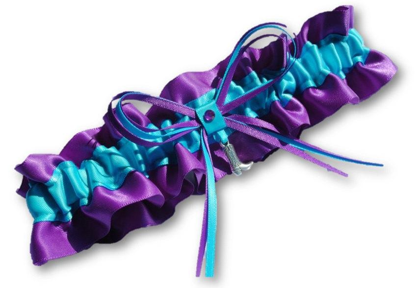 Mariage - Western Wedding Garter SINGLE or SET, beautiful Personalized purple and turquoise blue satin with cowboy boot
