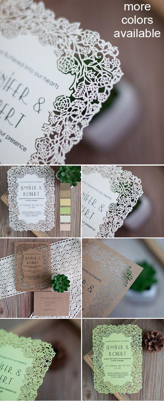 زفاف - Elegant Flower Laser Cut Wedding Invitations EFWS001