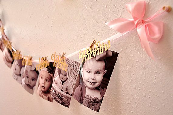 Pink And Gold First Birthday Decorations Ready To Ship 12 Month Photo Banner Garland