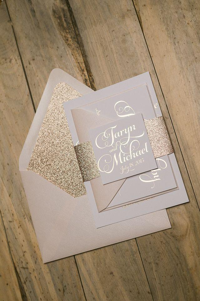 Hochzeit - Extremely Popular Letterpress Wedding Invitation With Glitter!