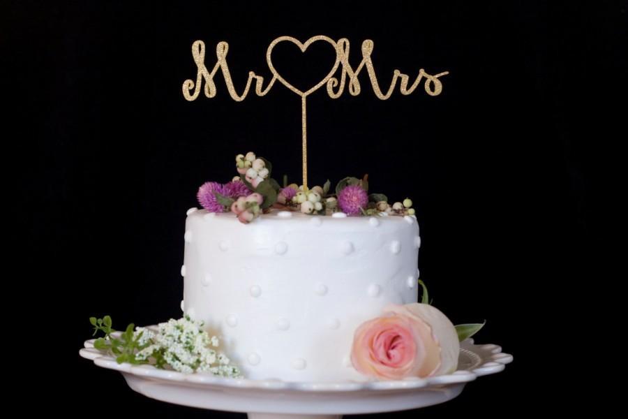 Свадьба - Mr. Heart Mrs. Gold Wedding Cake Topper