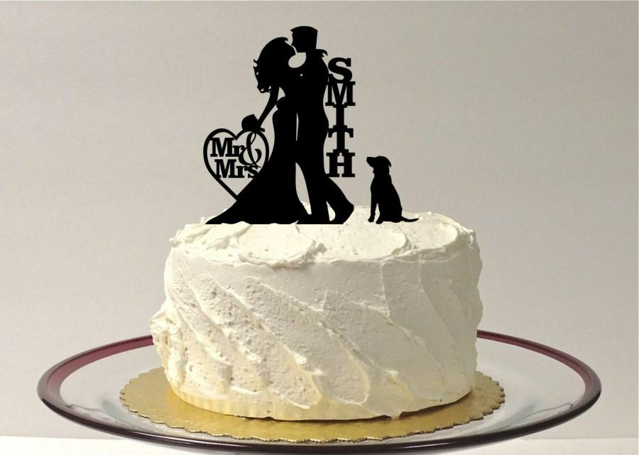 Mariage - Silhouette Wedding Cake Topper with Dog, Wedding Cake Topper Bride and Groom & Dog, Silhouette Cake Topper, Silhouette Wedding Decoration,