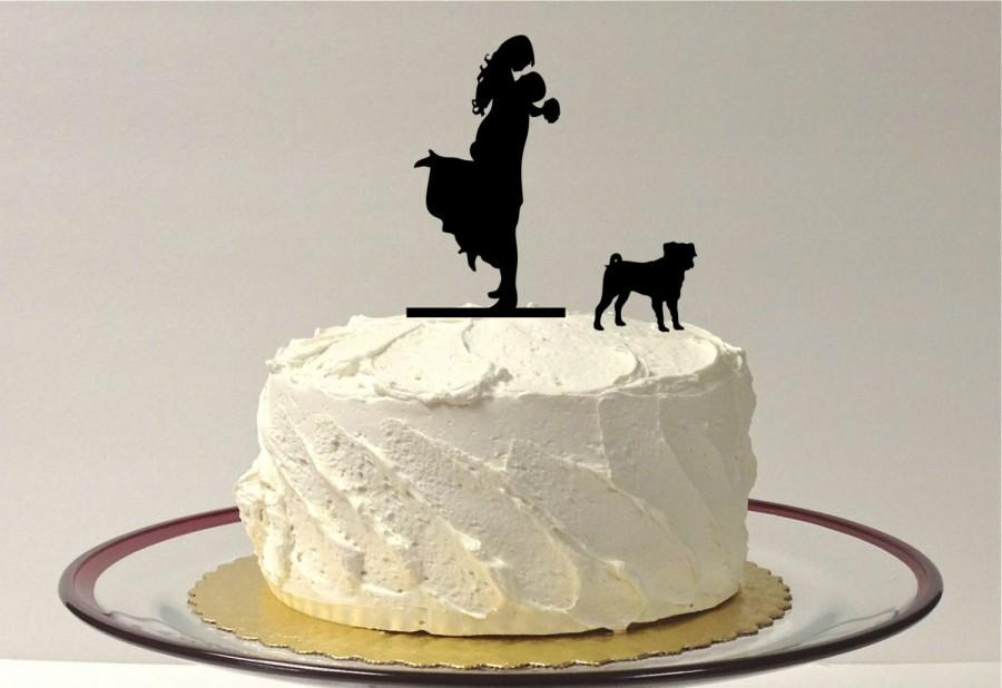 Hochzeit - Silhouette Wedding Cake Topper with Pet Pug Groom Lifting Up Bride Wedding Cake Topper Bride + Groom + Dog Pug