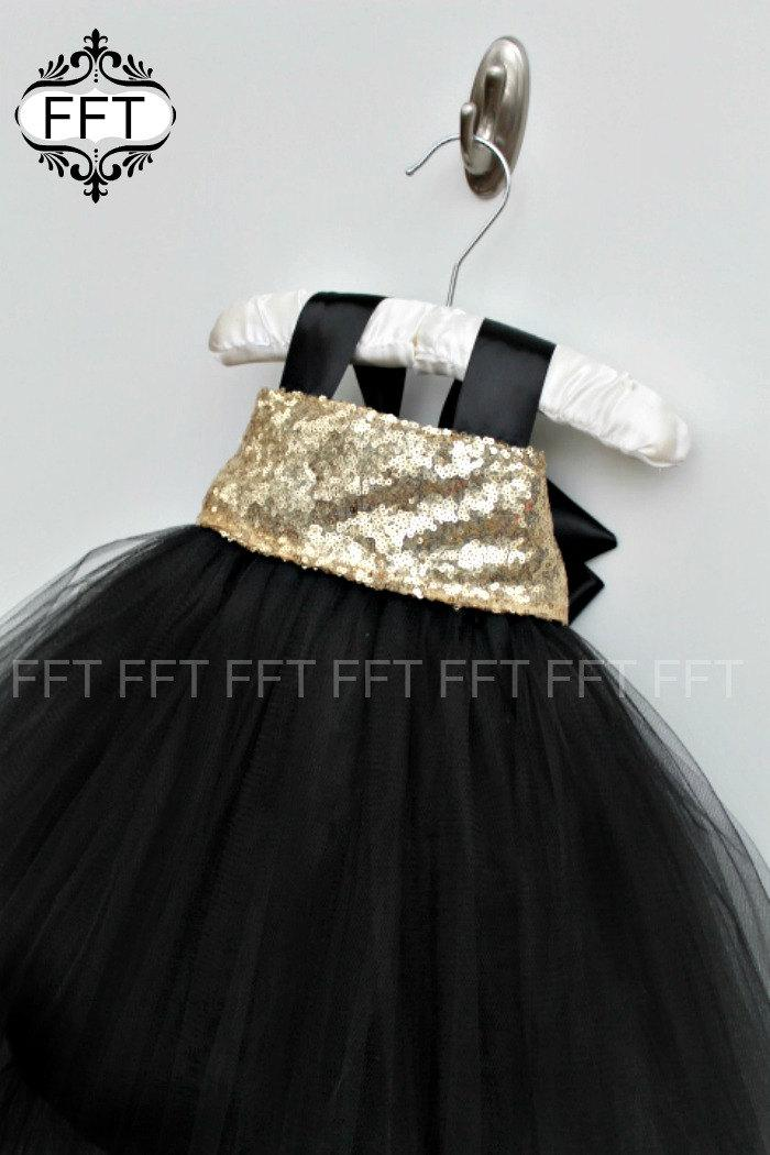 Свадьба - Gold Sequin Flower Girl Tutu Dress