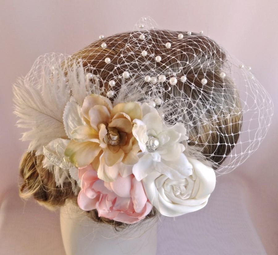 زفاف - Birdcage veil with flowers, flower headpiece, bridal hair accessory, wedding veil,  bridal veil pearls, pink champagne,  Style 806