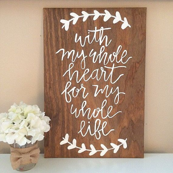 Mariage - With My Whole Heart For My Whole Life Sign - Wedding Sign - Wedding Decor - Rustic Wedding - Rustic Wedding Decor - Wooden Wedding Sign