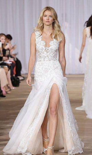 Свадьба - 'Morning' Layered Lace & Organza Front Slit Gown (In Stores Only)