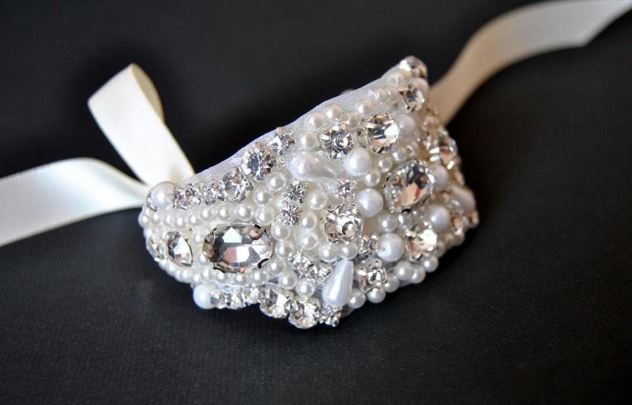 Wedding - Beaded  cuff bracelet bridal, bridesmaid cuff bracelet,bridal bracelet, beaded crystal cuff,Jewelry Bracelet