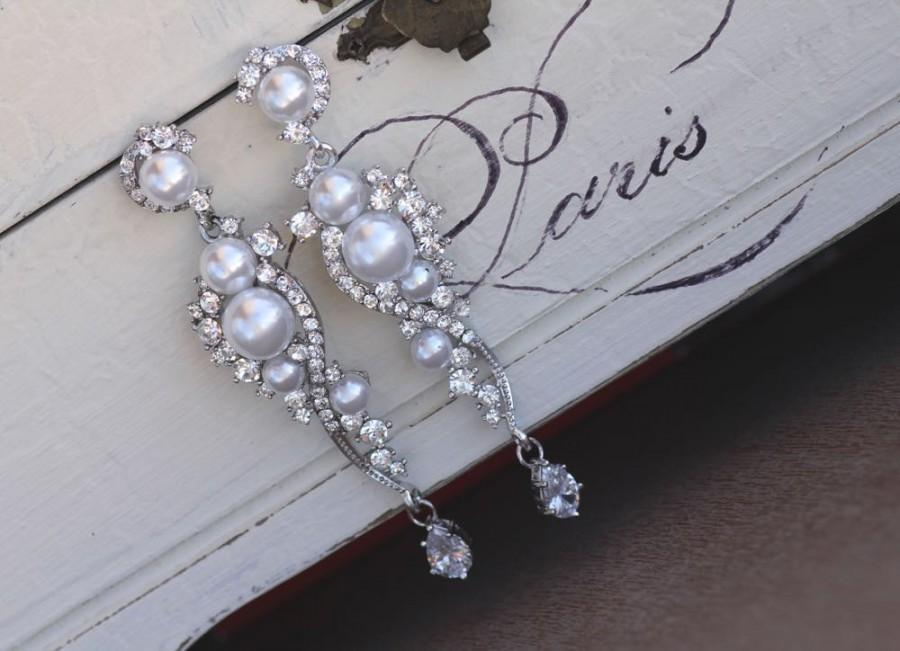 Pearl Bridal Earrings Crystal And Dangle Chandelier Silver Wedding Tilly