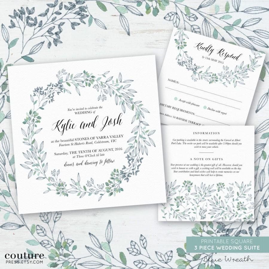 Printable Wedding Invitation Set Watercolour Blue Green Wreath - Diy template wedding invitations