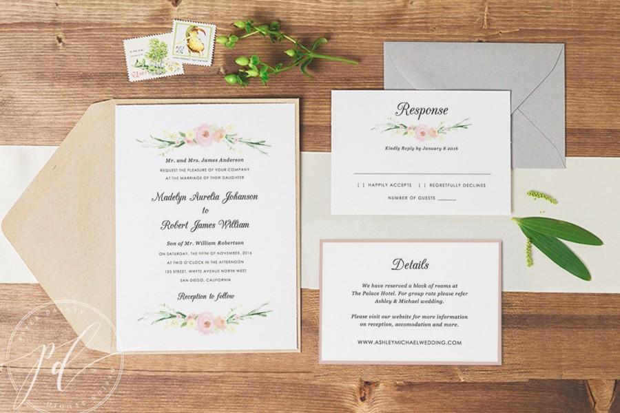 Wedding Invitation Template Printable Editable Text Colour
