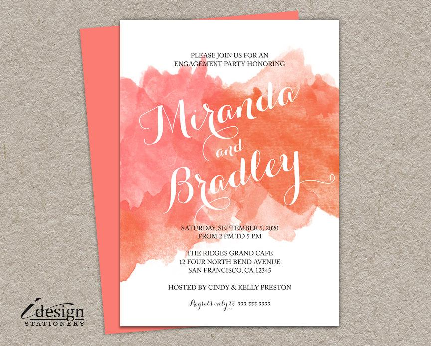 diy coral watercolor engagement party invitation printable peach