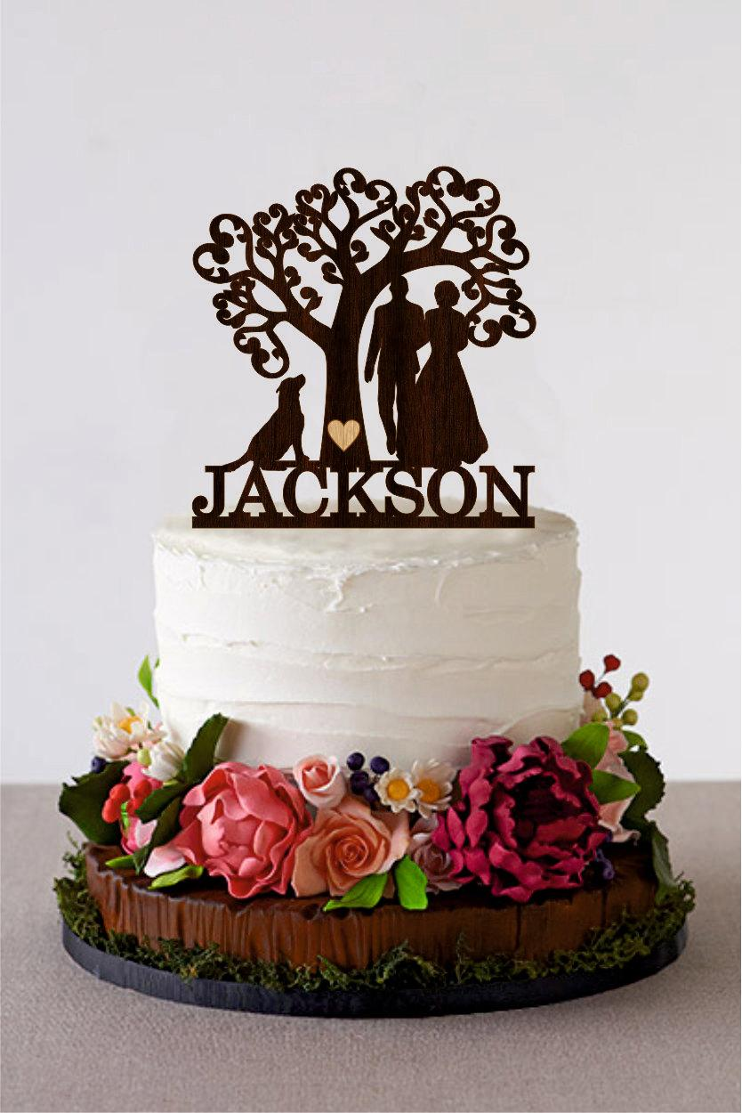 Свадьба - Wedding Cake Topper Silhouette Couple with Dog Tree Wedding Cake Topper Wood Monogram Cake Topper