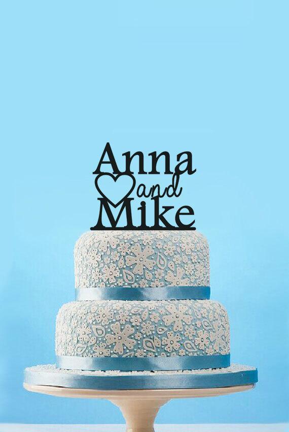 Wedding - Custom name wedding cake topper,personalized bride & groom wedding cake topper,traditional wedding cake topper,engagement cake topper decor