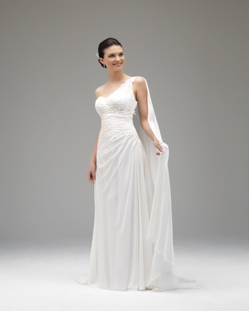 ecfb4f44093 Simple A-line One Shoulder Lace Floor-length Chiffon Wedding Dresses -  Elegant Evening Dresses