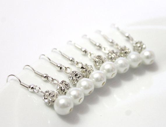 Wedding - 7 Pairs White Pearls Earrings, Set of 7 Bridesmaid Earrings, Pearl Drop Earrings, Swarovski Pearl Earrings, Pearls in Sterling Silver, 8 mm
