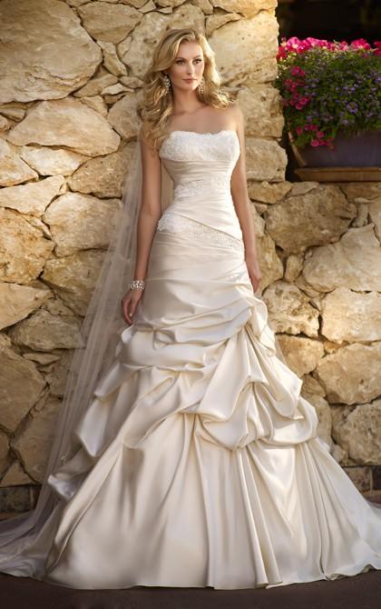 زفاف - Generous A-line Strapless Beading&Sequins Lace Pick Up Skirt Ruching Sweep/Brush Train Satin Wedding Dresses - Elegant Evening Dresses