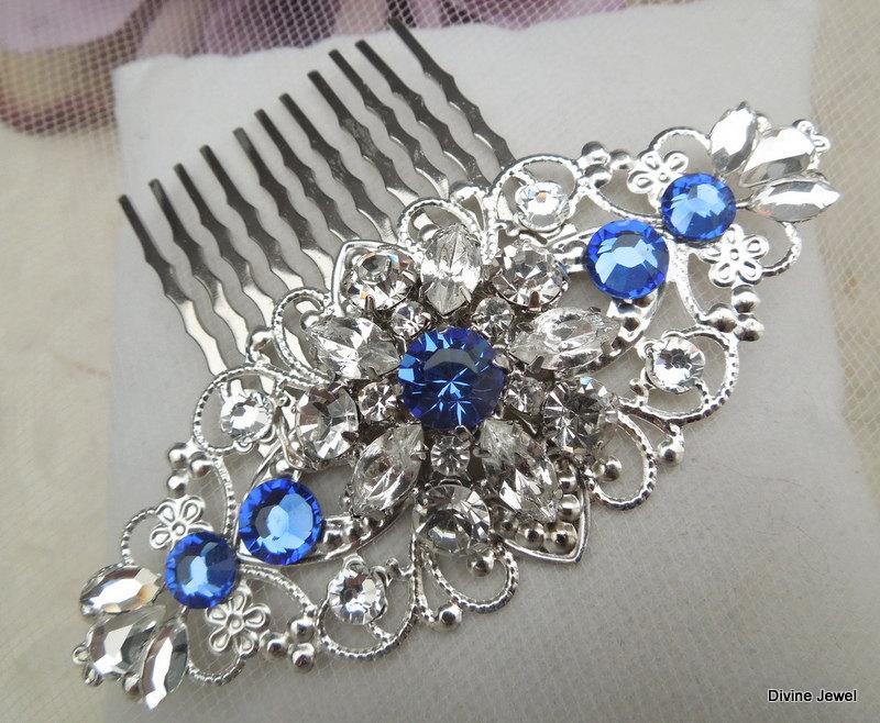 Свадьба - Bridal Hair Comb,Wedding Hair Comb,Something Blue Hair Comb,Bridal Rhinestone Hair Comb,Silver Hair Comb,Swarovski Crystals,Crystal,SAVANNAH