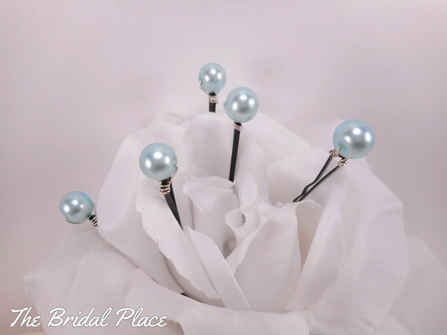 Mariage - Aqua Blue Pearl Hair Pins Set of 5, Bridal Hair Pins, Bridal Hair Accessory, Wedding, Engagement, Something Blue