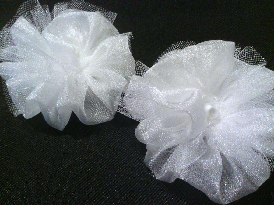 Mariage - Bridal Shoe Clips 1 Pair, Wedding, Engagement, White Chiffon & Tulle Flowers, Swarovski Pearl center, Quantity, as many as Needed!
