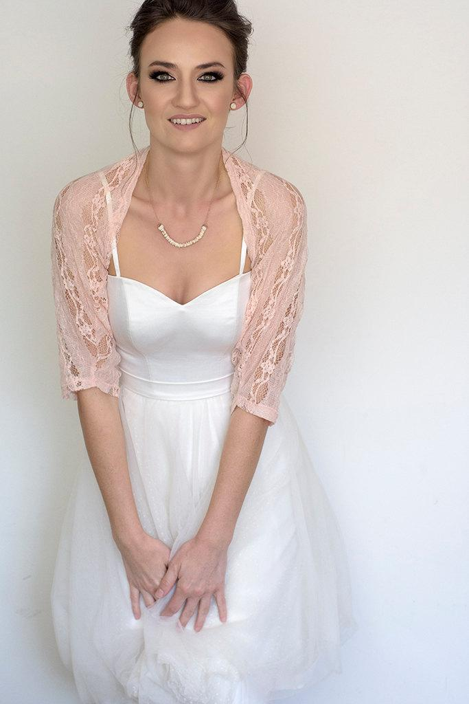 Blush wedding shawl bridal cover up light wedding lace for Lace shrugs for wedding dresses