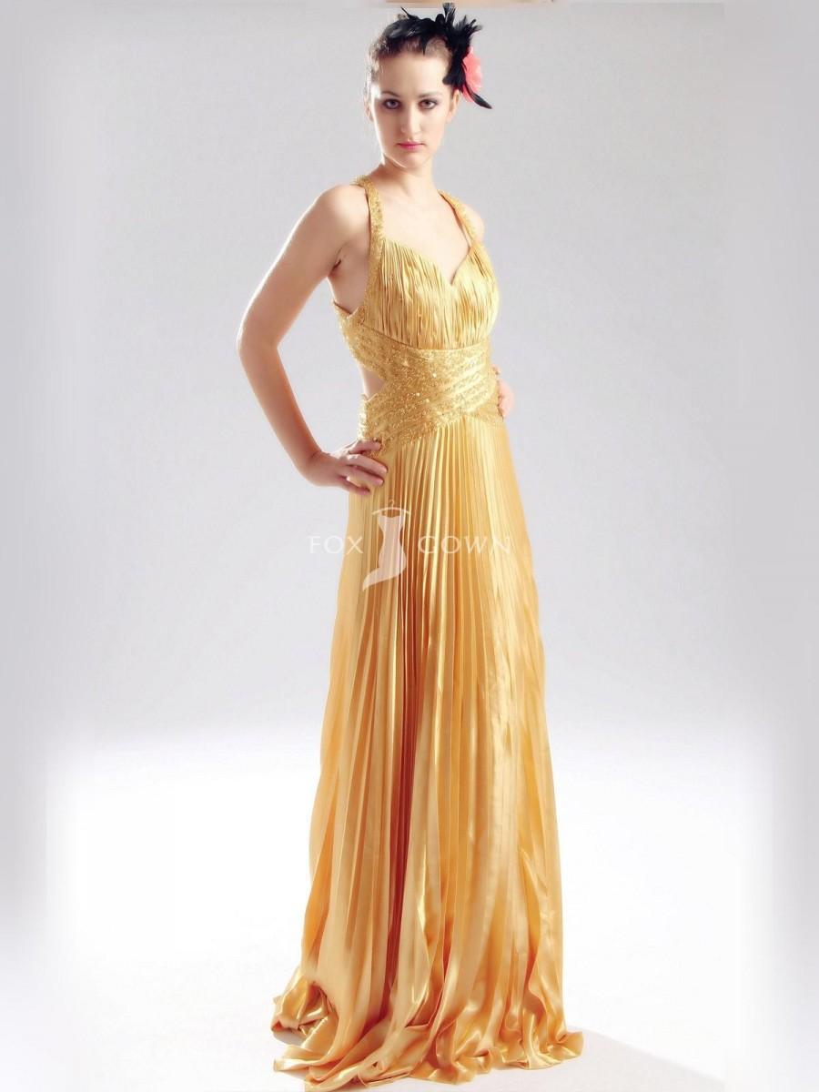 Wedding - Elegante Gold in Prom Kleid mit Faltenrock - Festliche Kleider