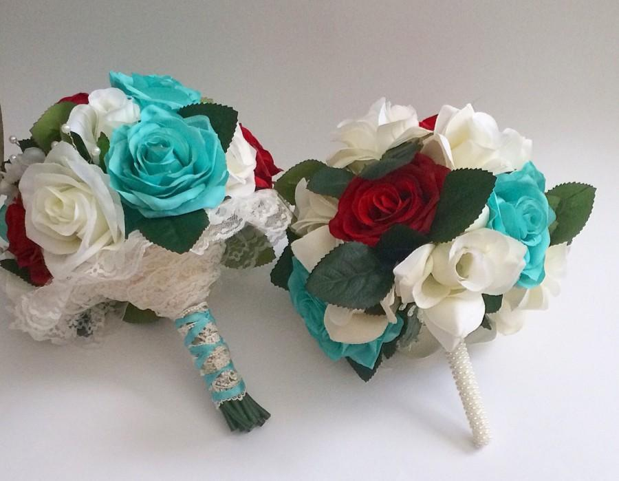 Wedding - Wedding bouquet, custom bride bouquet, multi colors, bridesmaid bouquet set, customizable, turquoise, wedding flowers